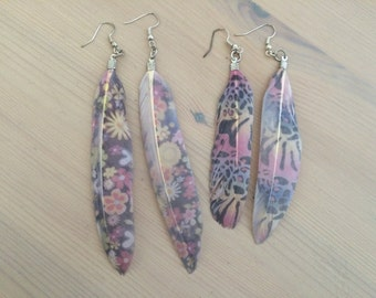Rainbow Leopard and Floral Print Feather Earrings