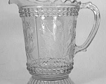 Depression Era Beaded Heavy Glass Pitcher