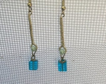 Blue wire wrapped earrings