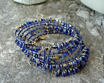 Memory Wire Bracelet. Memory Wire Wrap Bracelet. Beaded Bracelet. Czech Lentil Bead Bracelet. Cuff Bracelet. Coil Bracelet. Stacked Bracelet