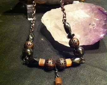 Hematite pendant long necklace