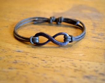 Infinity Bracelet, Waxed Cotton Bracelet, Adjustable, Large Antique Copper Infinity Charm, Waxed Cotton Cord, Infinite Love, Friendship