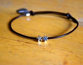 Silver Star Charm Bracelet, Leather Cord, Wish Bracelet, Friendship, Adjustable, Love