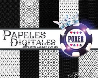 10 digital papers Casino Poker Black & White