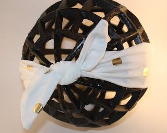 Baby girl turban knot headband with gold polka dots