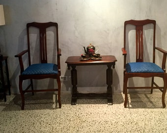 Antique Queen Ann Chairs with Blue Upholstery