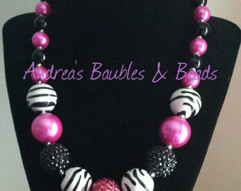 Girls Hot Pink & Zebra Chunky Bubblegum Bead Necklace