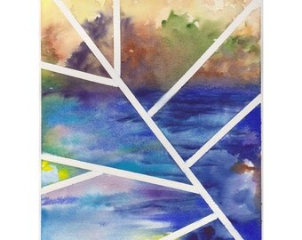 Original contemporary watercolor painting - Cool Blue