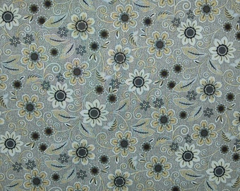 Flowers and Swirls on Light Grey background Burlap and Lace by Dover Hill Benartex Quilting Cotton Fabric,  1/2 Yard Increments