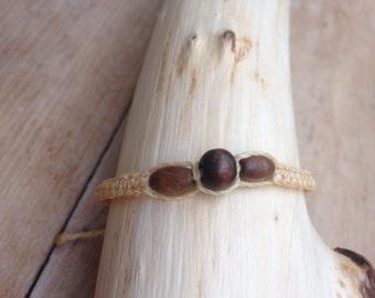 Handmade waxed cotton macrame bracelet