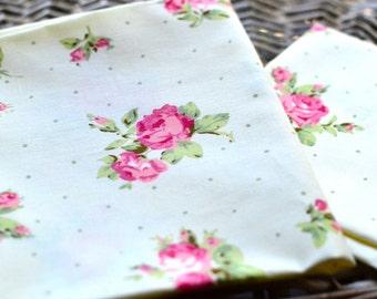 Pink rose fabric I Rose print fabric I Floral cotton fabric I Patchwork fabric I Fabric patch I Cotton fabric I Quilting fabric I Polka dots