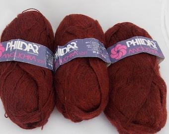 Rust yarn, rust colored yarn, terracotta yarn, mohair yarn, wool yarn, knitting yarn, crochet yarn, yarn lot, cheap yarn, Phildar yarn