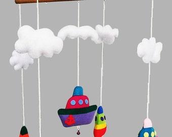 Baby Cot Crib Mobile Boats Nursery Decor