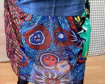 Hippie, recycling, patchwork, long skirt