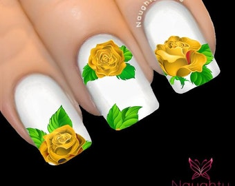MAJESTIC YELLOW Rose Nail Water Transfer Decal Sticker Art Tattoo NNF-105