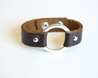 Leather Cuff With Metal Ring:  Dark Brown Leather Bracelet With Silver Ring-- Joanna Gaines Inspired Leather Ring Bracelet