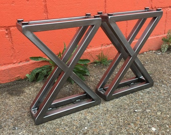 3D X Style Metal Bench Legs - Brushed Steel, Blackened + Powder Coated Finishes - Adjustable Threaded Foot Levelers.