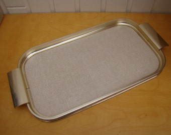 Retro Vintage 1960's Gold Coloured Serving Tray With Handles 43cms x 22cms