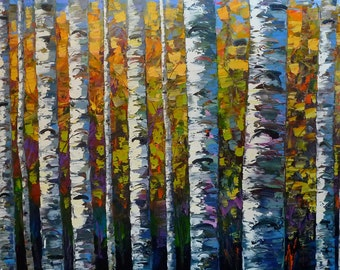 Birch tree art print//Aspen tree art print//Abstract tree art print//Birch tree wall decor//Colorful tree wall decor//Cabin wall art print