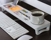 White Glossy Color Paint Wood Desk Organizer, Desktop Shelf, Office & Home Organizer, Keyboard Rack, Wooden Desktop Storage Accessories