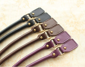 Genuine Leather Purse Straps with Bronze Hardware 21.5 inch long