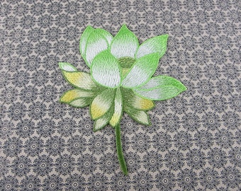 Green Lotus Applique, Embroidery Flower Appliques, Only Sew On
