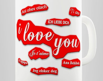 Love You In Different Languages Red Romantic Ceramic Novelty Gift Mug