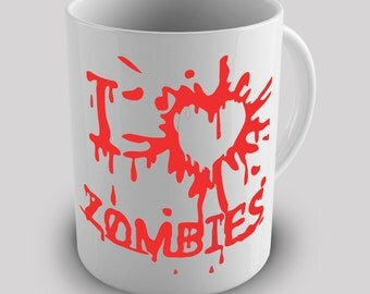 Blood Splatter Love Zombies Ceramic Novelty Mug