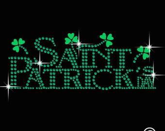 Irish Saint Patrick Diamante Motif Rhinestone Transfer