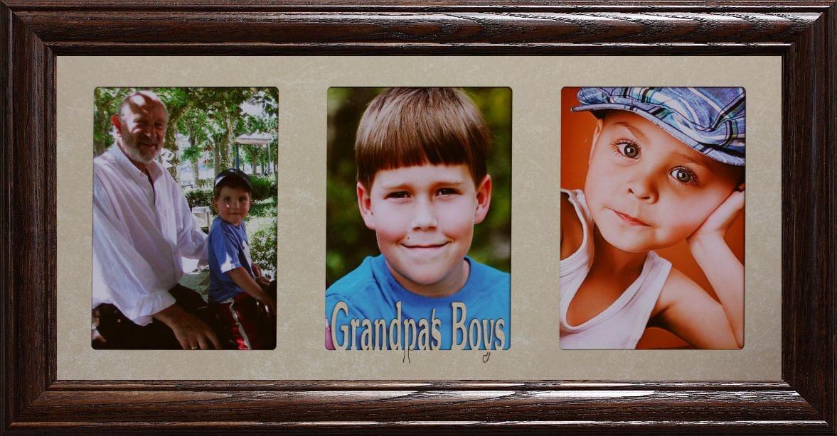 7x15 Grandpa S Boy Boys Triple Photo Frame Holds Three