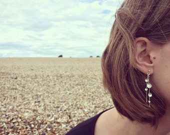 Drop earrings,Dome drop earrings, Silver handmade, Elegant earrings, Dangle earrings, Statement silver earrings