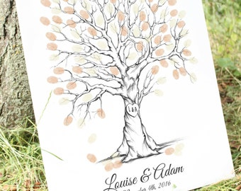 Thumb Print Wedding Tree Guest Book Alternative Fingerprint Guestbook, Unique Guest Book Ideas, Custom Guest Book, fingerprint tree