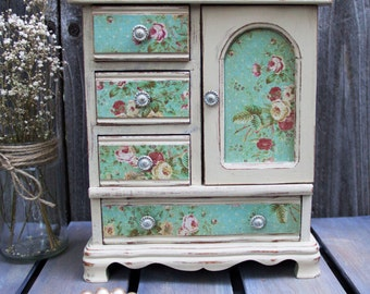 Shabby Cottage Chic Wooden Musical Jewelry Box - Aqua & Ivory Jewelry Armoire - Hand Painted - Decoupage - Distressed - Upcycled