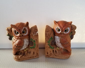 Vintage Owl Bookends handpainted ceramic 1979