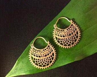 Brass Rajhasthani Tracery Hoop Earrings, Small Brass Indian Tracery Tribal Hoop Earrings