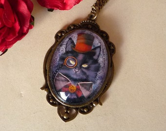 INO, the steampunk cat - illustrated medallion, hand made