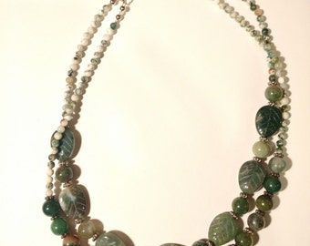 Chunky Moss Agate Gemstone Necklace