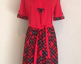 Vintage 1960s 1970s Red Plaid Belted Dress
