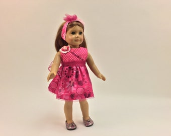 HOT PINK MINNIE Dress With Coordinating Hair Accessory