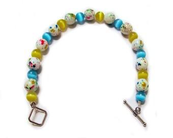 Teal Yellow White Beaded Single Strand Bracelet