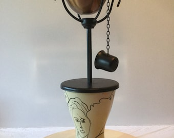 Tiki Lamp. Black, Ivory, and Copper #2