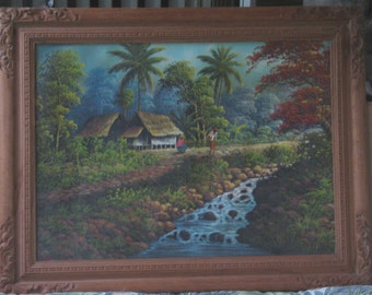 Large Vietnamese Oil-1960's-Village By Stream-Signed-Sleeper