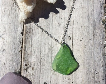 Authentic Found Emerald Sea Glass Necklace from the PNW