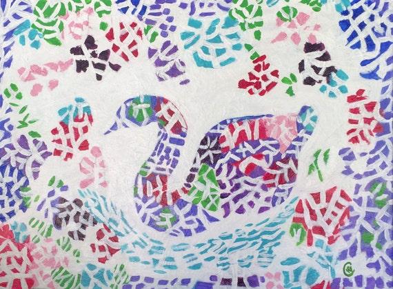 Mosaic Swan Art, multicolored , mosaic style, mosaic swan, wall hanging, hand painted abstract
