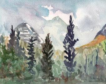 Glacier National Park - Morning Mists  8x10 Watercolor Original