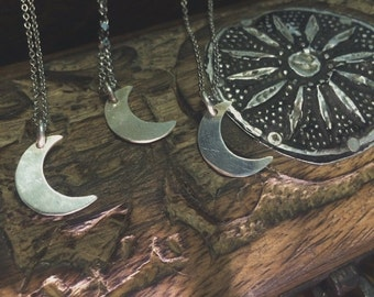 Real Silver crescent moon necklace