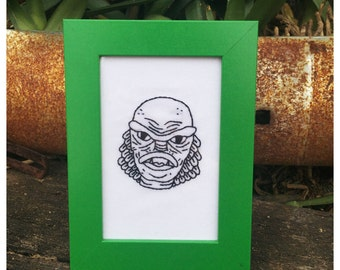 Creature from the Black Lagoon embroidery in frame