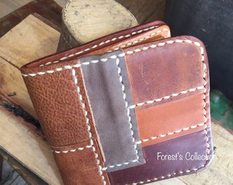 Handmade patchwork leather wallet
