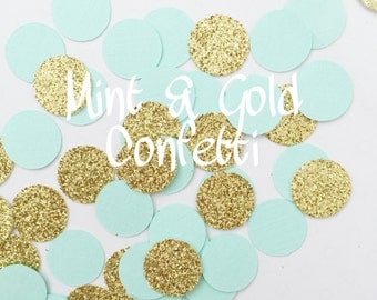 100 Mint Gold Confetti, Birthday Parties, Baby Shower, Party Decorations, Wedding Decor, Bridal Shower, Confetti Circle, Mint Gold Confetti