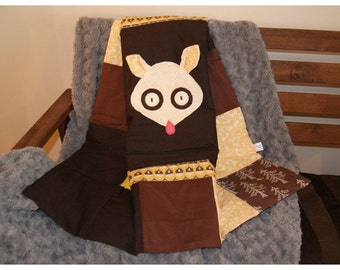 Squirrel baby quilt - playmat - baby gift - baby shower